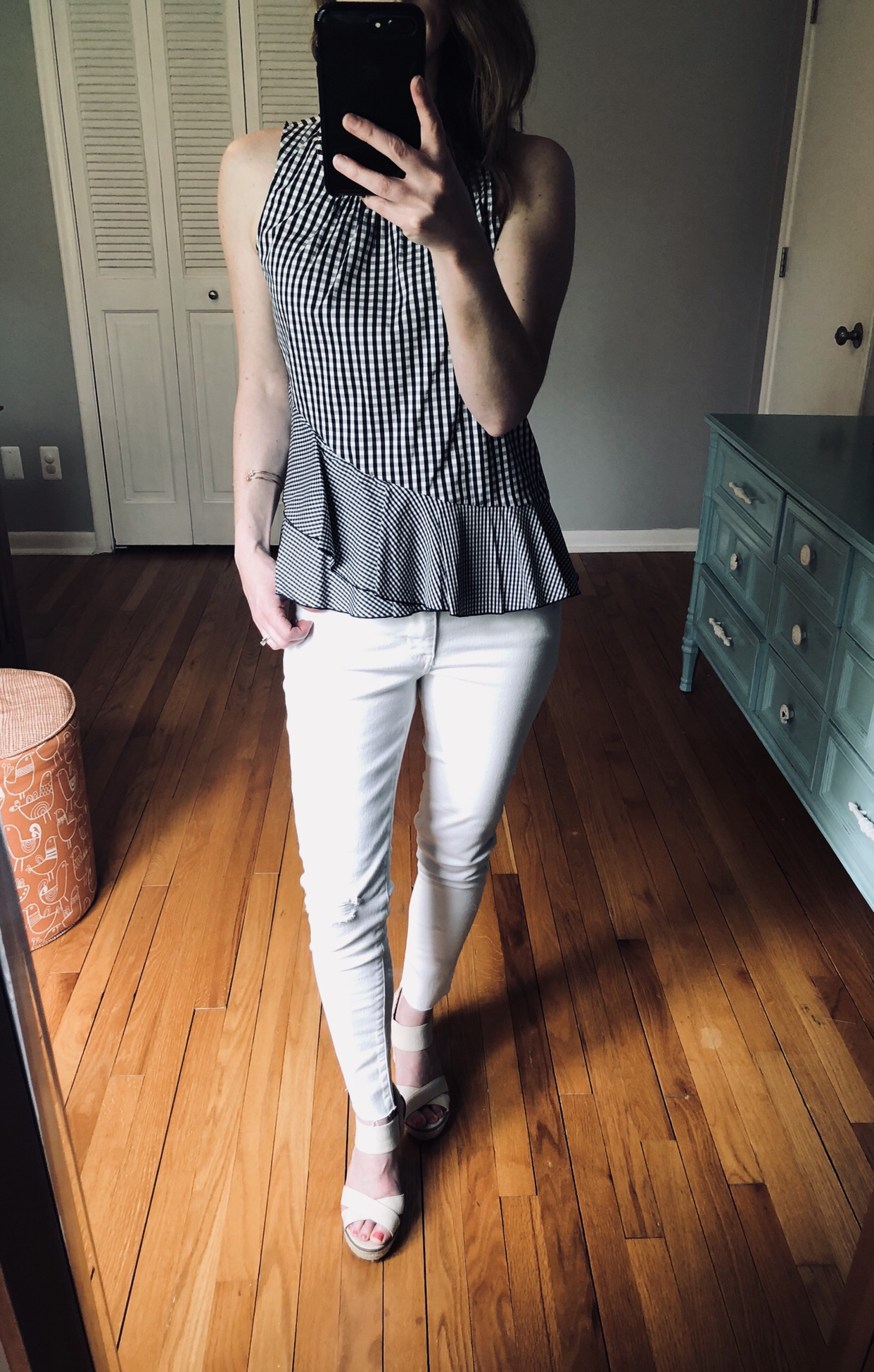 White to wear with white jeans. Gingham ruffle tank and espadrilles