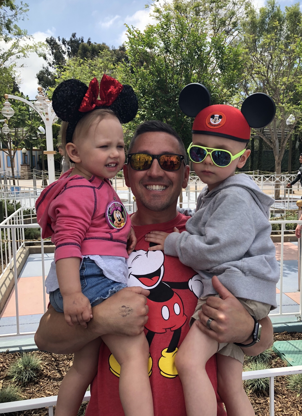 dad and the kids on our first trip to Disneyland