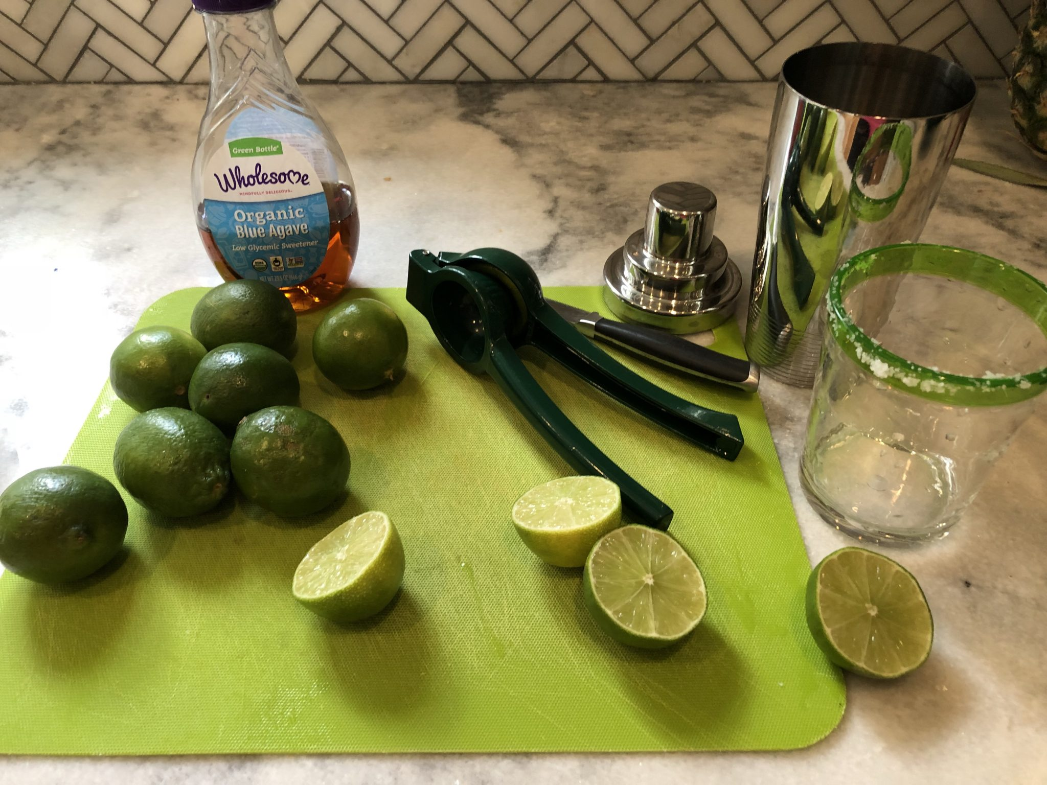 prep for making a fresh lime margarita recipe