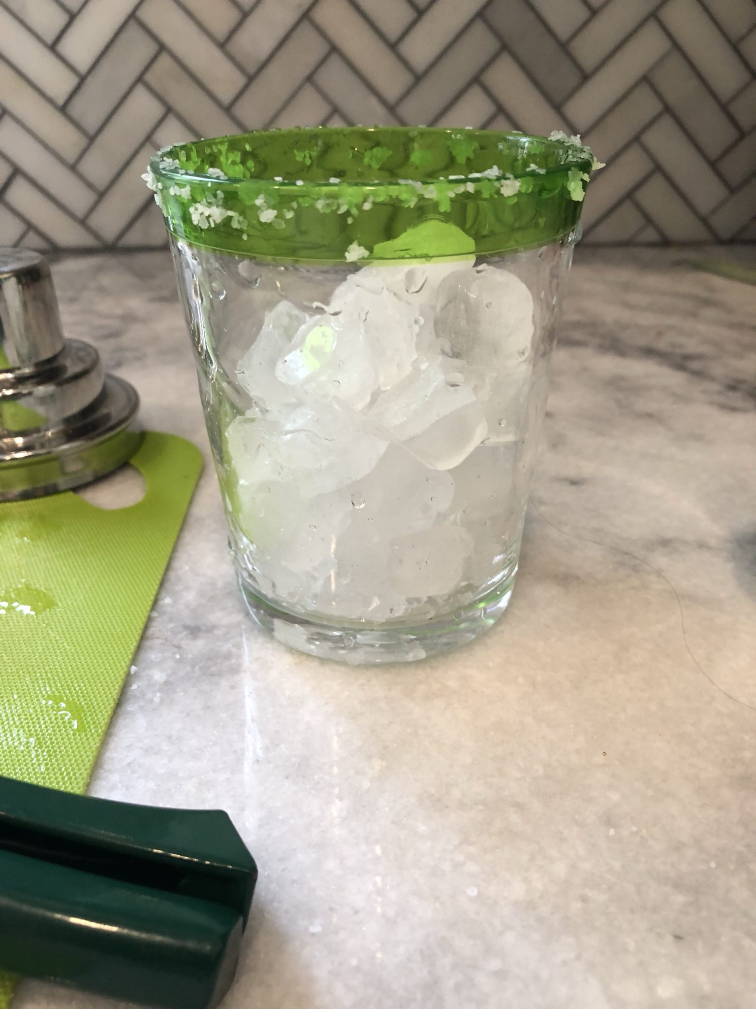 salted rim for a fresh lime margarita recipe