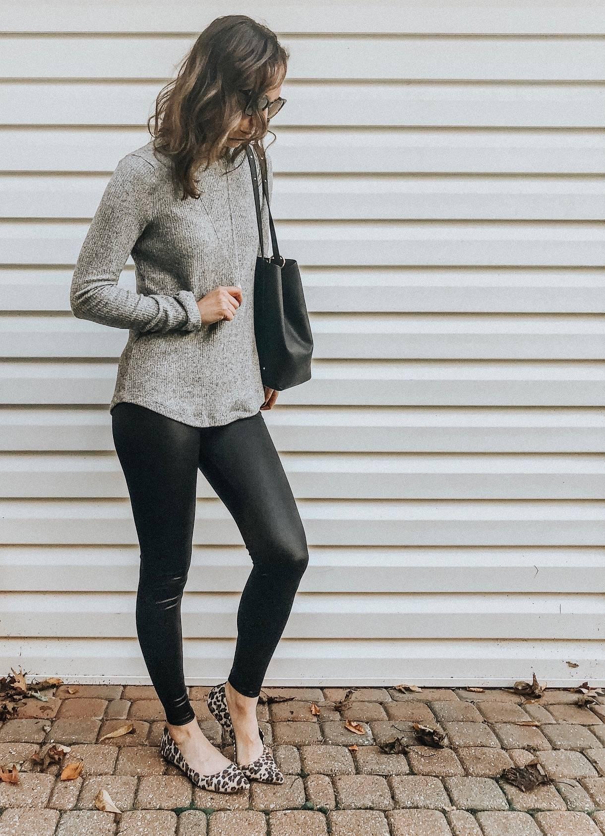 Daily Splendor | Life and Style Blog. Faux leather leggings styled 3 ways #fallfashion #momfashion #worklook #fashionblog #daytimelook