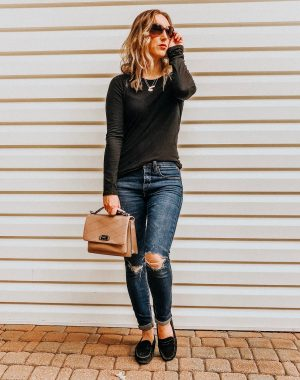 Fall Instagram Favorites | Daily Splendor Life and Style Blog | black tee, distressed denim, rebecca minkoff bag #casualstyle #casualoutfit #momstyle #everydayfashion
