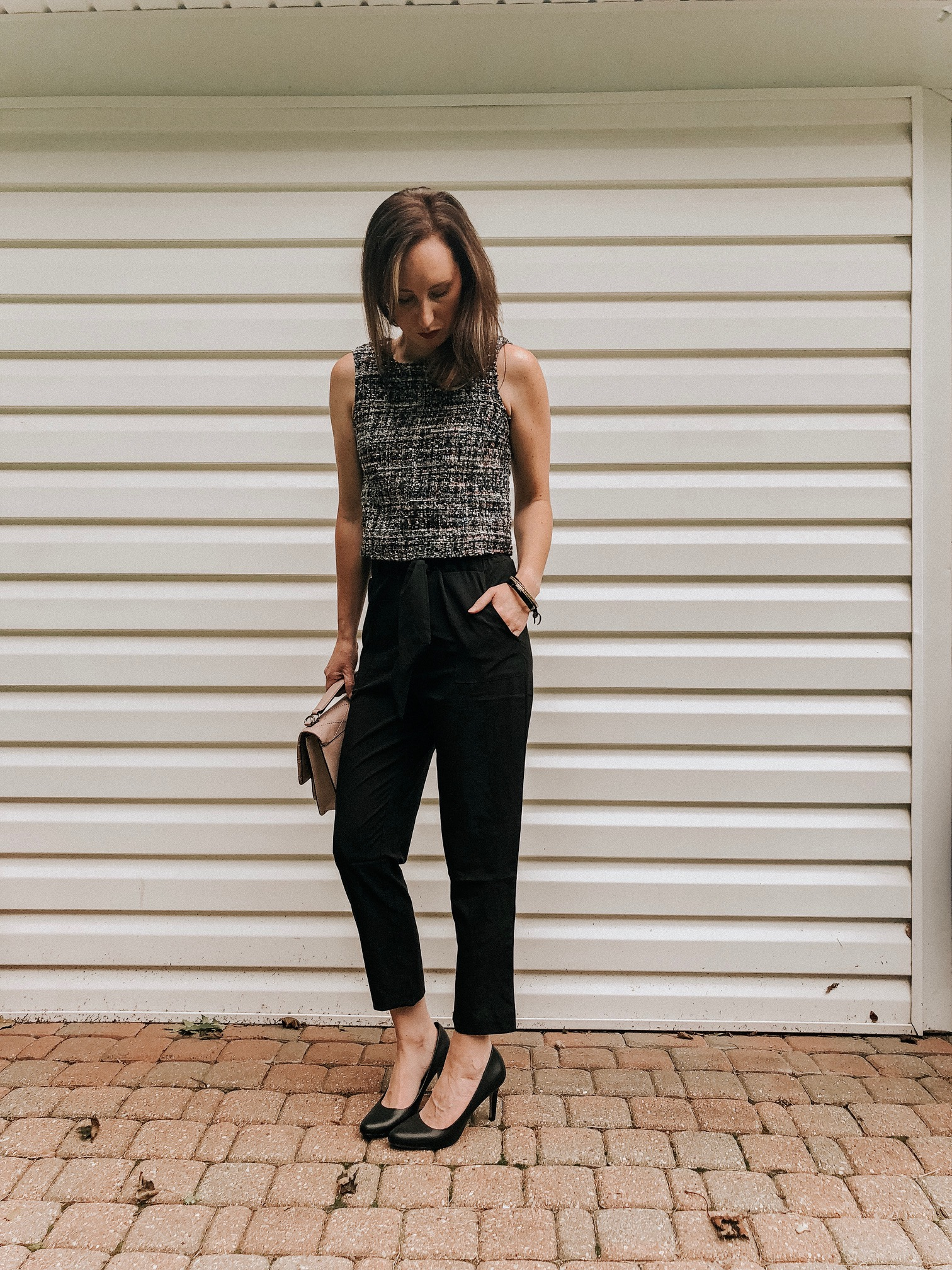 Fall Instagram Favorites | Daily Splendor Life and Style Blog | Black pants, tweed tank and pumps #momstyle #everydayfashion #fallstyle #workwear #officewear