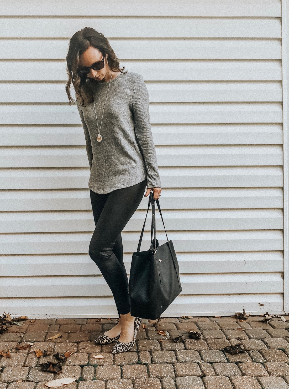 Fall Instagram Favorites | Daily Splendor Life and Style Blog | Faux leather leggings, sweater and tote bag #casualstyle #streetstyle #momstyle #everydayfashion #fallstyle #fallneutrals #fauxleather
