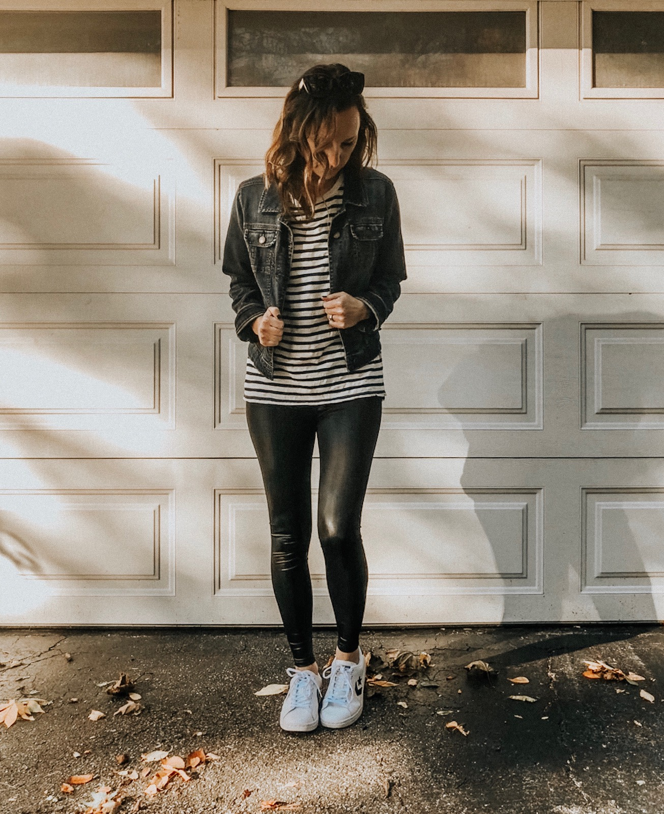 Fall Instagram Favorites | Daily Splendor Life and Style Blog | Faux leather leggings, striped top, denim jacket and sneakers #fauxleather #casualstyle #casualoutfit #momstyle #everydayfashion #fallstyle #fallneutrals