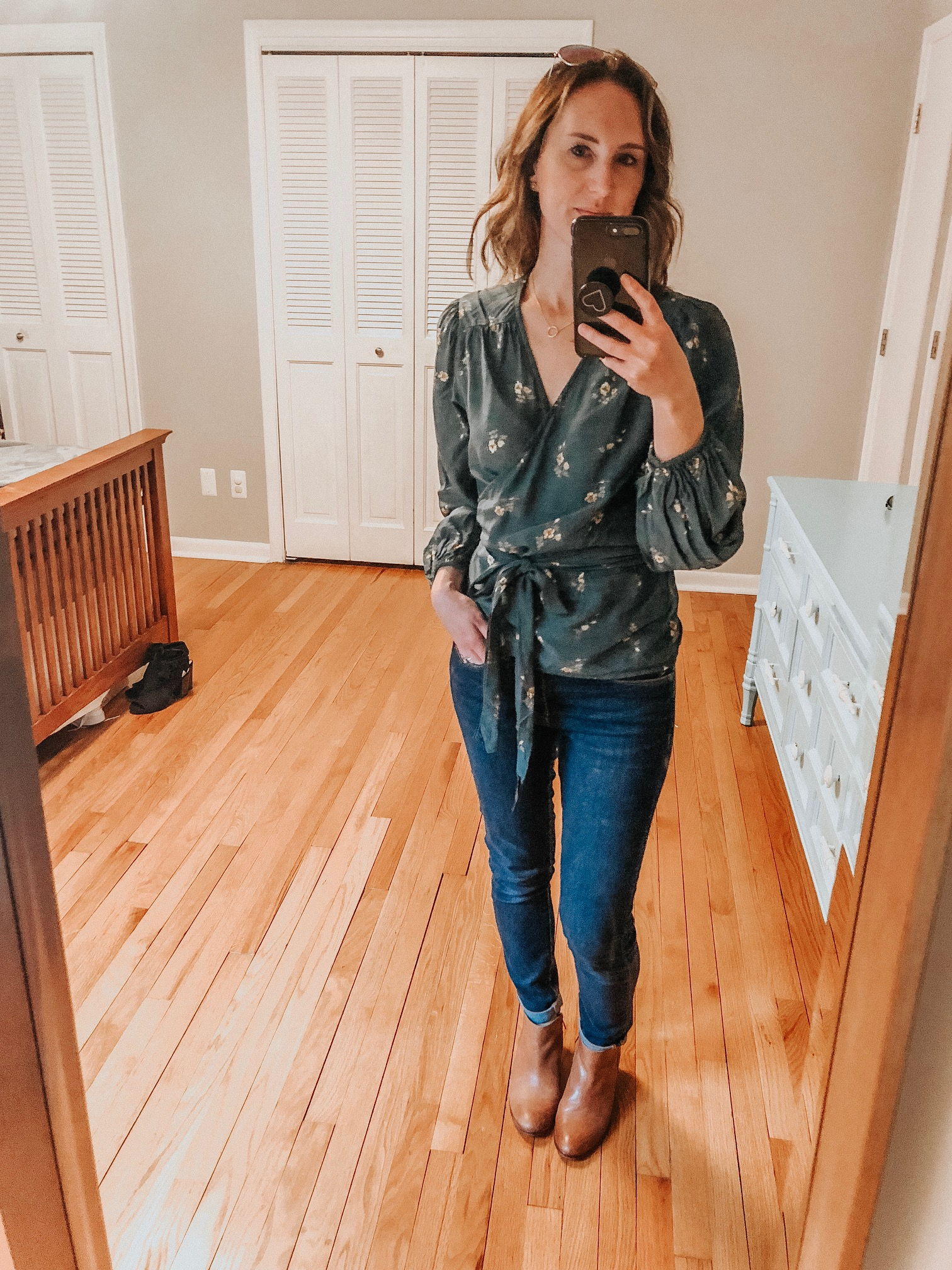 Fall Instagram Favorites | Daily Splendor Life and Style Blog | Wrap top, denim and booties #casualstyle #casualoutfit #momstyle #everydayfashion #fallstyle #fallneutrals