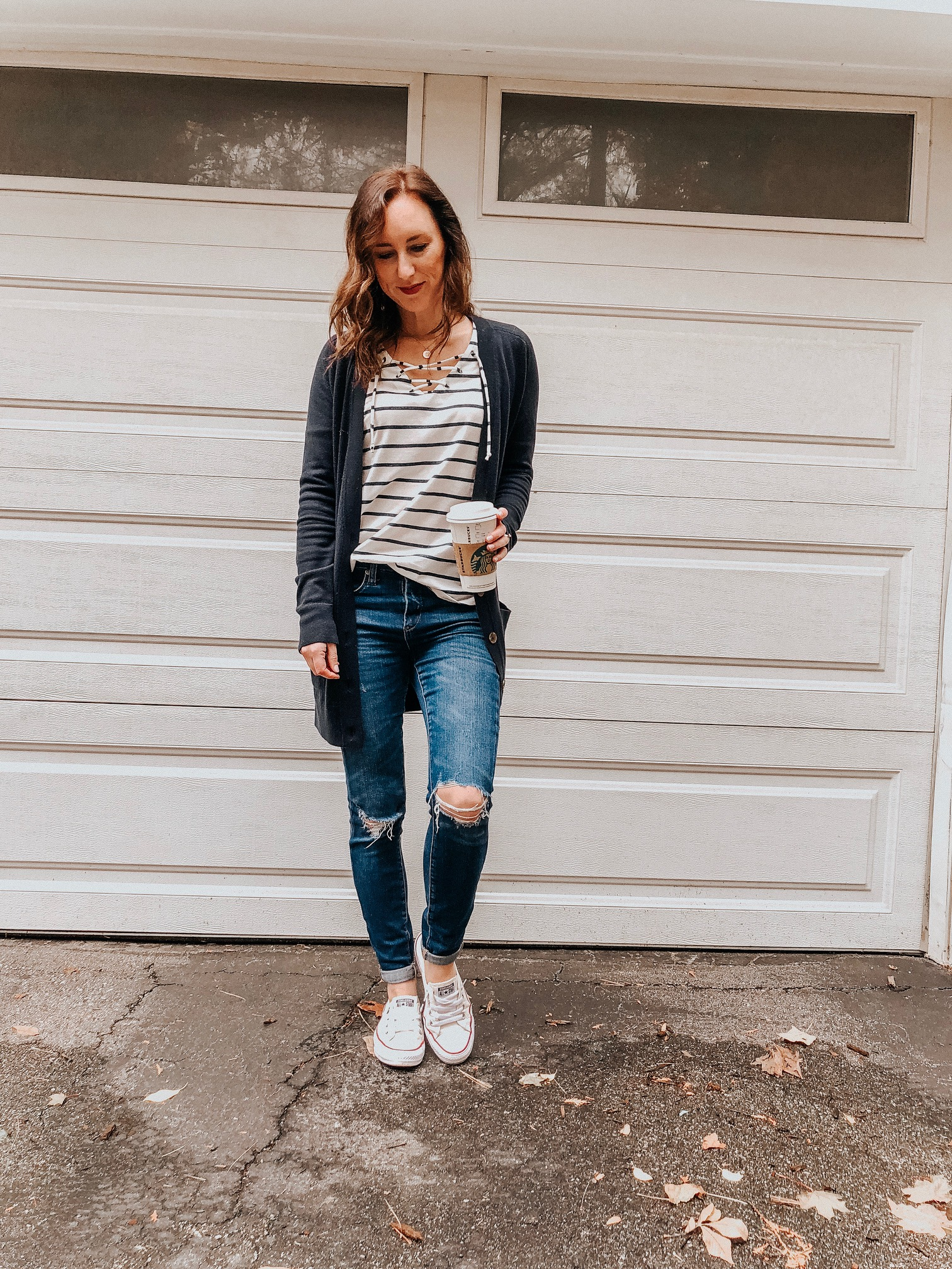 Fall Instagram Favorites | Daily Splendor Life and Style Blog | striped tee, distressed denim, cardigan and sneakers #casualstyle #casualoutfit #momstyle #everydayfashion #fallstyle #fallneutrals