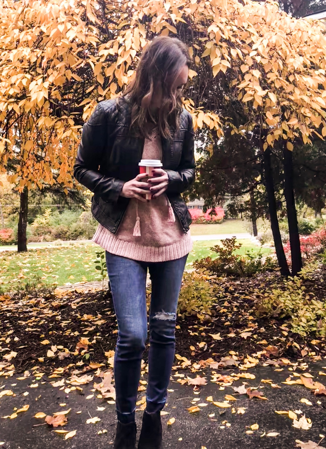 Fall Instagram Favorites | Daily Splendor Life and Style Blog | Faux leather jacket, pink sweater, denim and booties #momstyle #everydayfashion #fallstyle #fallfashion
