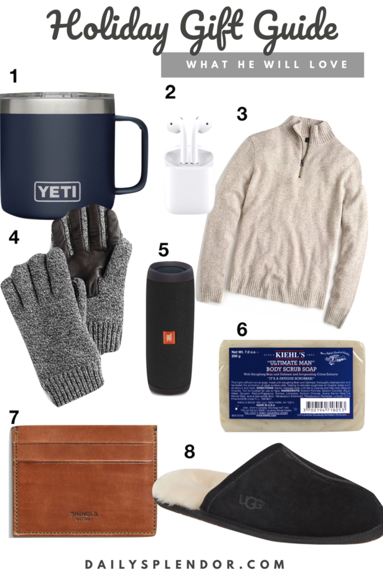 2018 Holiday Gift Guide for Men | Daily Splendor Life and Style Blog | #giftguide #holidaygiftguide #2018giftguide #mensgiftguide #mensgiftideas #yeti #kiehls #jcrew #shinola