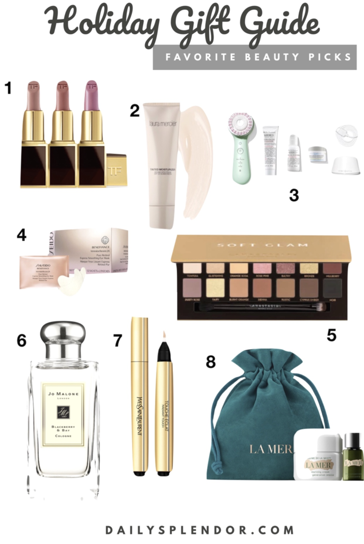 2018 Holiday Beauty Gift Guide | Daily Splendor Life and Style Blog | #giftguide #holidaygiftguide #2018giftguide #womensgiftideas #tomford #clarisonic #Cremedelamer #sephora #nordstrom