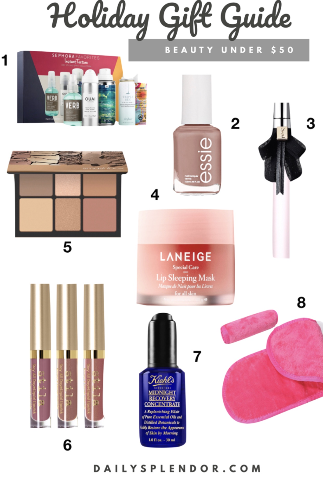 2018 Holiday Beauty Gift Guide under $50 | Daily Splendor Life and Style Blog | #giftguide #holidaygiftguide #2018giftguide #womensgiftideas #essie #stila #sephora #nordstrom #amazon #beautygifts