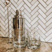 Simple Home Bar Setup   Daily Splendor Life and Style Blog   rocks glass, shaker, muddler, home bar, hostess, hosting #homebar #cocktails #entertaining #mixeddrinks