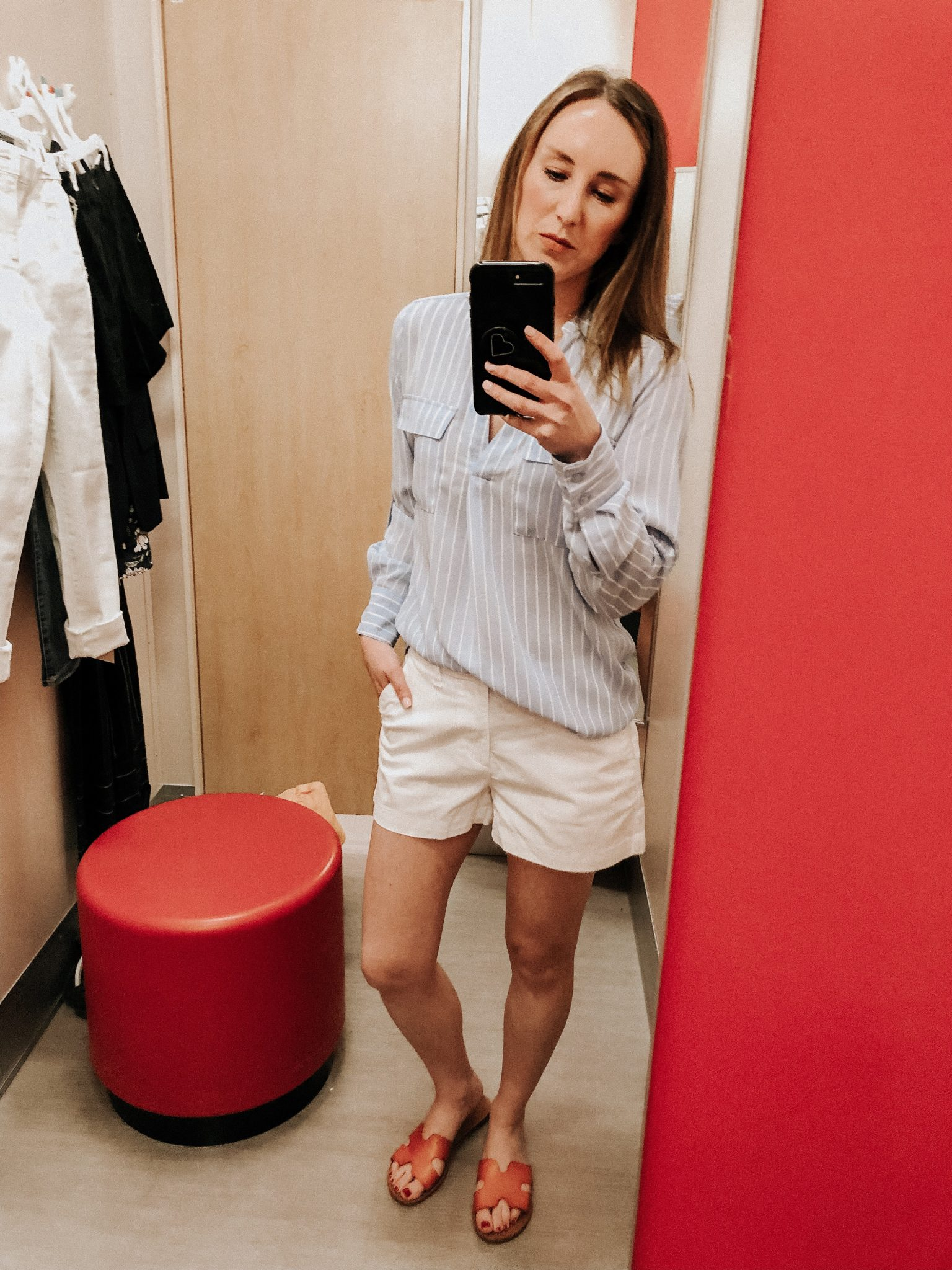 May Target Try On | Daily Splendor Life and Style Blog || spring outfit, striped button down top, white shorts, target clothes, #springoutfit #springstyle #targettryon