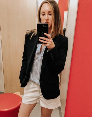 May Target Try On | Daily Splendor Life and Style Blog || spring outfit, striped button down top, white shorts, navy blazer, target clothes, #springoutfit #springstyle #targettryon