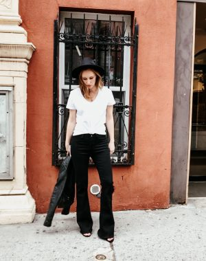 Flare jeans, white tee, faux leather jacket, wide brim hat || Daily Splendor|| #flarejeans #blackjeans #citystyle #NYCfashion #bloggerstyle #casualchic