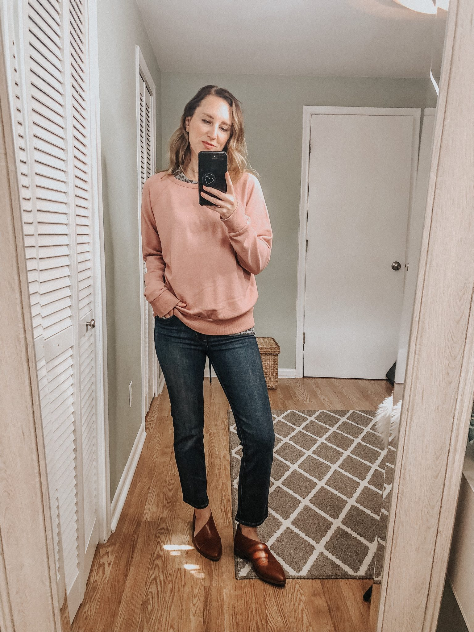 Fall Target Try On | Blush sweatshirt and crop levis with brown booties #fallstyle #targetstyle #targettryon #momstyle