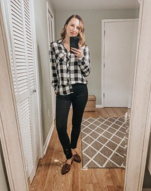 Fall Target Try On | Buffalo plaid flannel with black levis and leopard flats #fallstyle #targetstyle #targettryon #momstyle