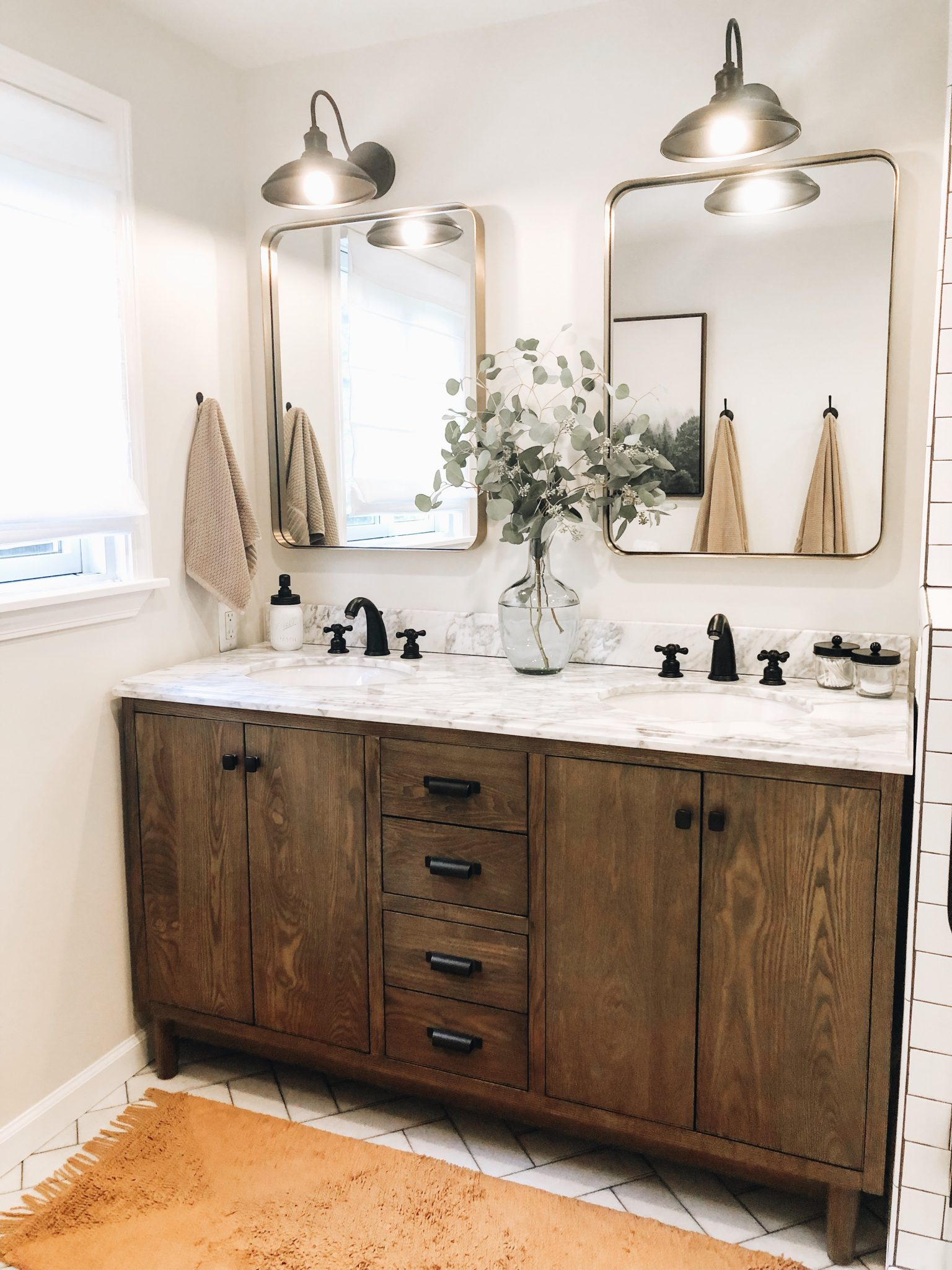 Master Bathroom Reveal | Daily Splendor Life and Style Blog | master bathroom #modernfarmhouse #modernfarmhousebathroom #Fixerupperstyle #contemporarybathroom #marbletile #subwaytile #subwaytileshower #herringbonetilefloor #matteblackbathroomfixtures #bathroomvanity #woodvanity