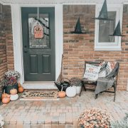 Halloween Decorating Ideas | Daily Splendor Life and Style Blog | Front porch for Halloween #witchhats #floatingwitchhats #halloweendecor #halloweenporch #budgethalloweendecorations