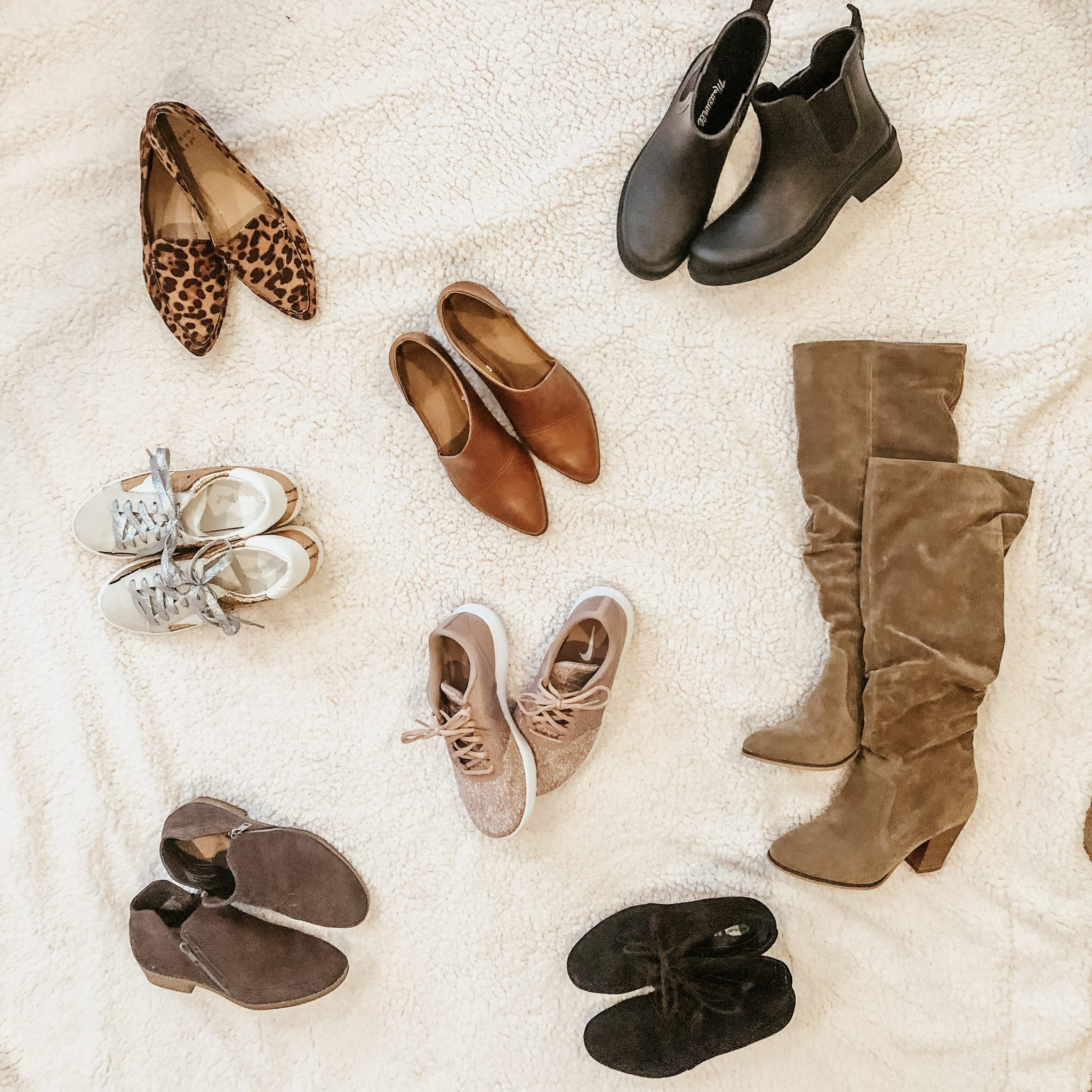 Shoe capsule for fall | Daily Splendor Life and Style Blog | #fallshoes #shoeroundup #shoecapsule #booties #flatlay #sneakers #fallstyle #momstyle #casualstyle #targetstyle