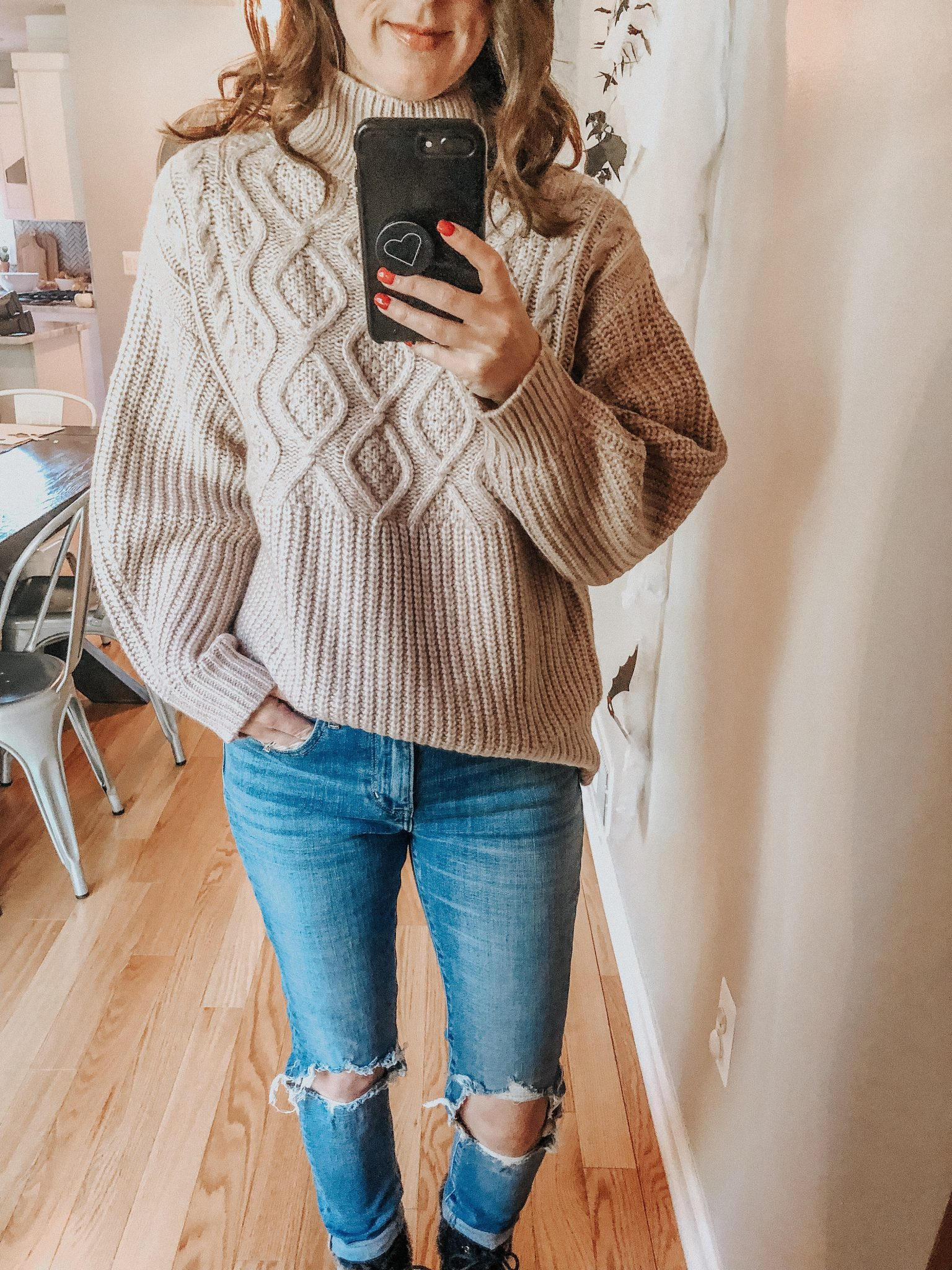 Winter sweater roundup | Daily Splendor Life and Style Blog | sweater dress #wintersweaters #fallsweater #turtlenecksweater #cozysweaters #target #mochnecksweater #darkhair #winterfashion #womensclothes #holidayoutfit #cozyclothes #levis