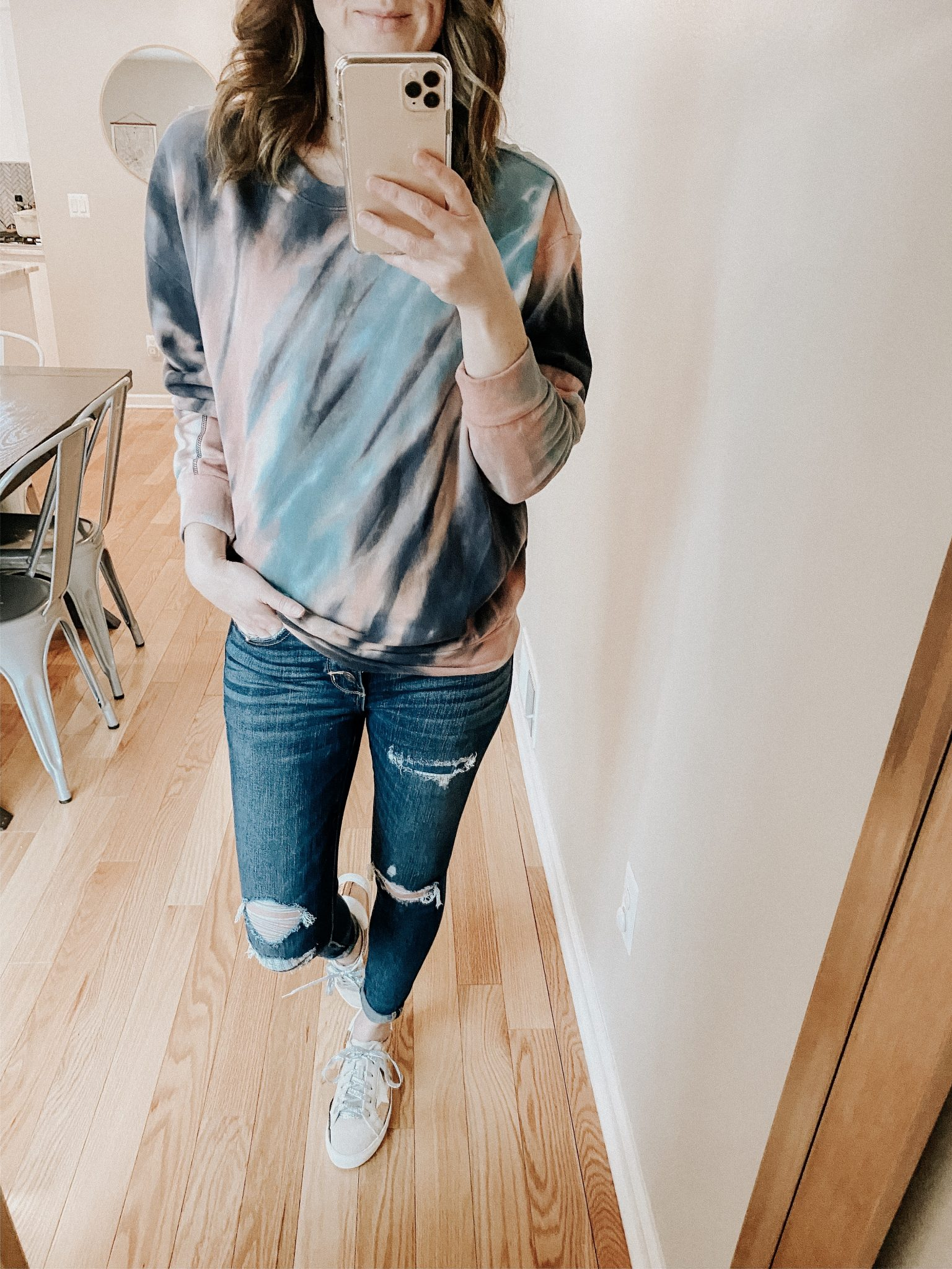 Graphic Sweatshirt Try On | Daily Splendor Life and Style Blog | Tie dye sweatshirt #momlife #momstyle #casualstyle #springstyle #springfashion
