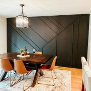 DIY Wood Accent Wall | Daily Splendor Life and Style Blog #accentwall #diywall #homedesign #matteblack #diningroom #diyhome #homeprojects #woodaccentwall #featurewall