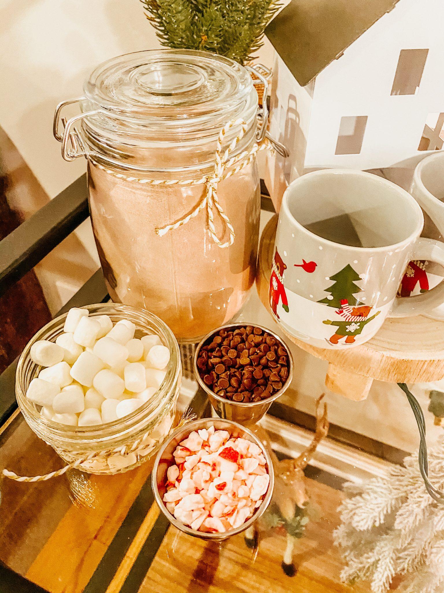 Hot Chocolate Bar Toppings | Daily Splendor Life and Style Blog #hotchocolate #wintertreat #holidaytreat #holidayhotchocolate #kidshotcocoabar #christmasdecor #barcart #hotchocolateprintable