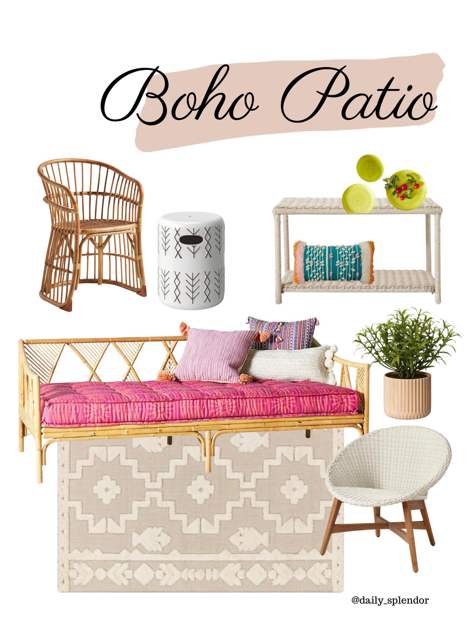 Patio refresh ideas | Daily Splendor Life and Style Blog | Boho patio vibe #outdoorfurniture #outdoorliving #summertime #patiodecor #patiofurniture #potterybarn #targetstyle #anthropologie #bohodesign
