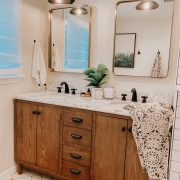 April favorites | Daily Splendor Life and Style Blog | Bathroom Vanity #goldmirrors #woodvanity #bohotowels