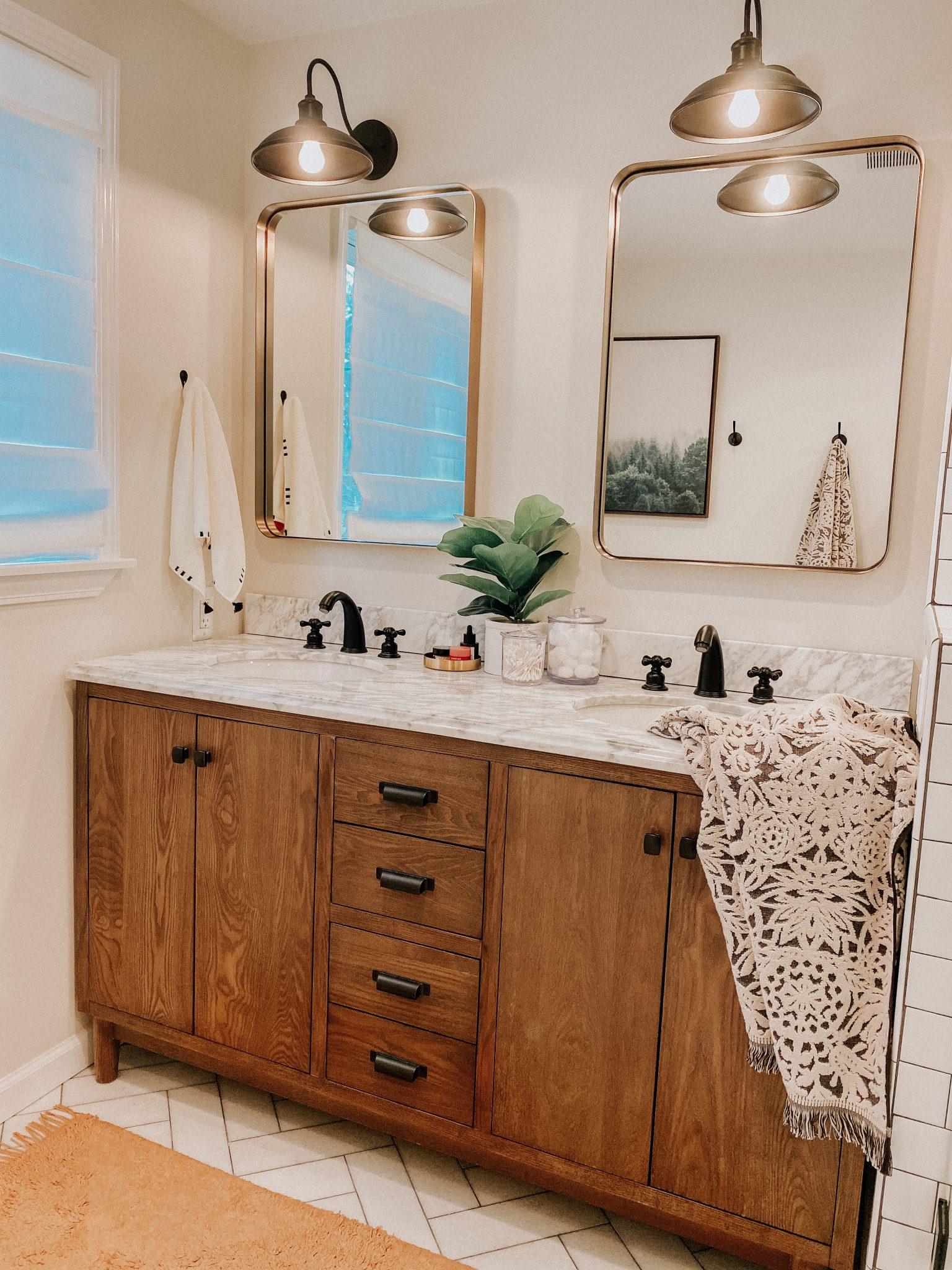 April favorites | Daily Splendor Life and Style Blog | Bathroom Vanity #goldmirrors #woodvanity #bohotowels